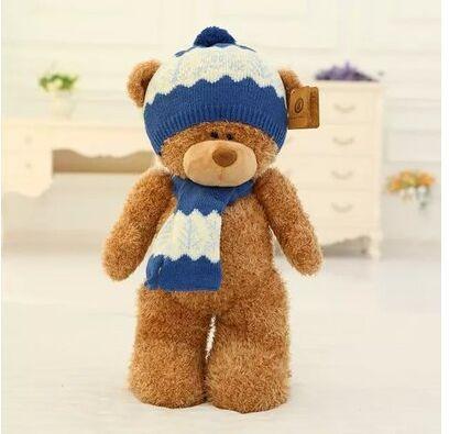 big lovely plush teddy bear toy dark brown teddy bear with blue hat and scraf doll gift about 50cm<br><br>Aliexpress
