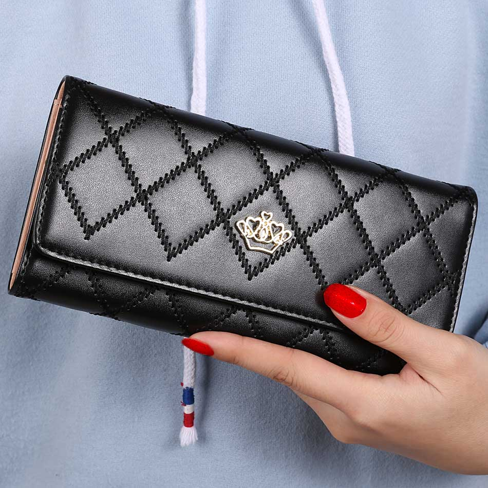 Fashion Women Wallets Plaids Pattern PU Leather Long Wallet New Popular Portable Purses Delicate Casual Lady Standard Wallets<br><br>Aliexpress