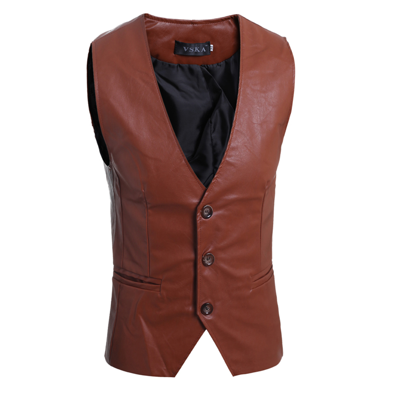 Mens PU Vest 3 Buttons Brown Black Washing Faux Leahter Waistcoat Sleeveless Jackets Male Brand Clothing Casual Slim Vests Men(China (Mainland))