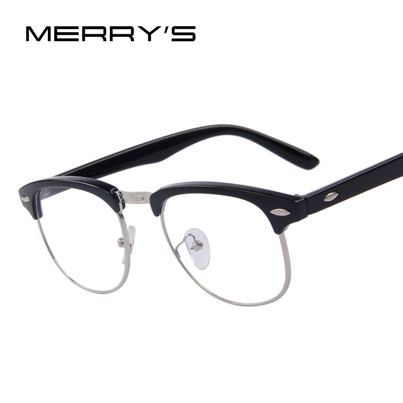 MERRY'S Classic Retro Clear Lens Nerd Frames Glasses Fashion brand designer Men Women Eyeglasses Vintage Half Metal Eyewear