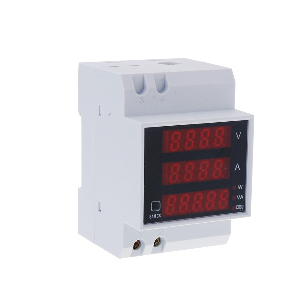 Hot Sale Professional LED Display Multi-functional Digital Din Rail Current Voltage Power Ammeter Voltmeter Meter free shipping(China (Mainland))