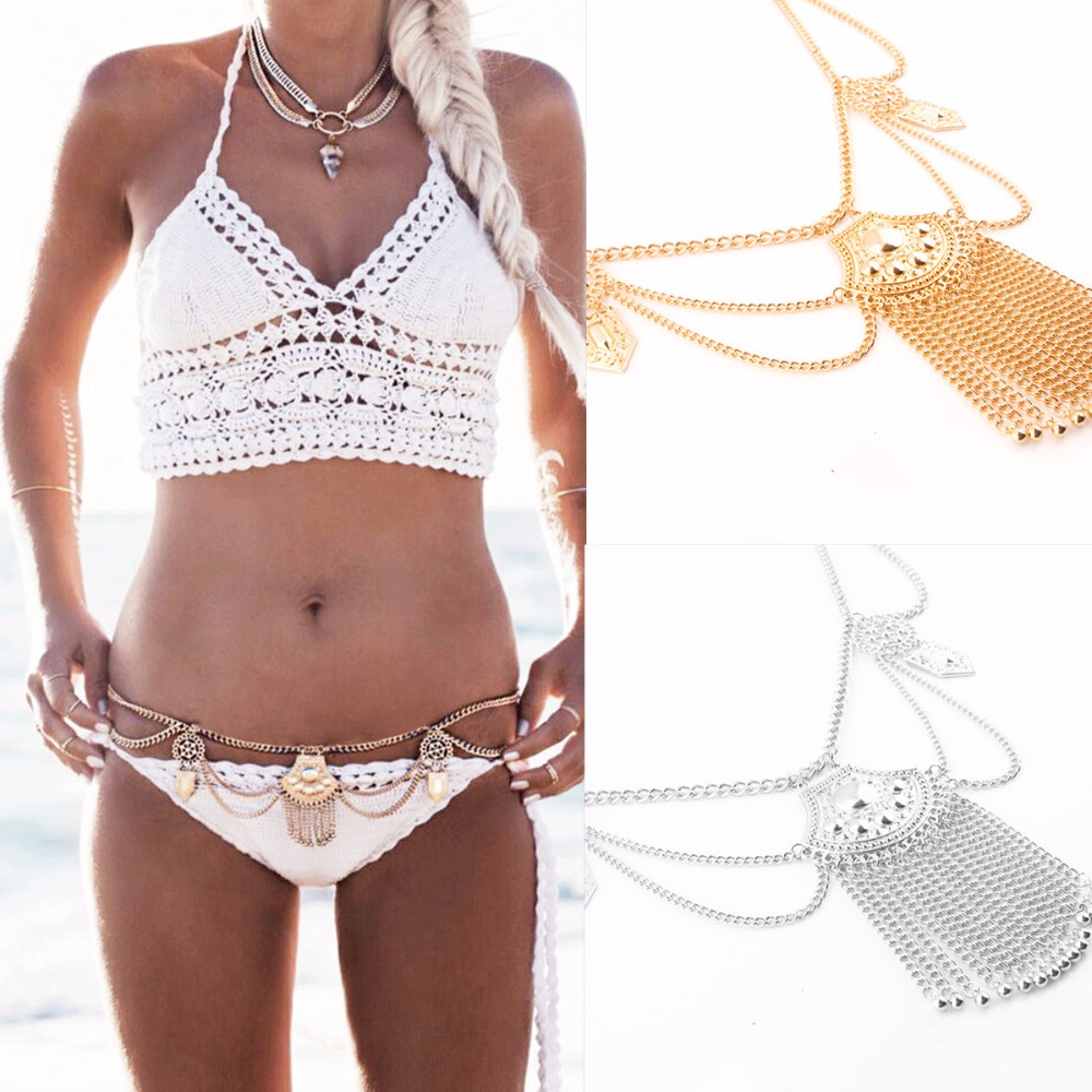 Tassel Belly Chain Women Boho Bohemian Shimmy Belt Dance Waist Gypsy Metal Dangle Multilayer alloy Body Jewelry BY100 - Golden Shadow store