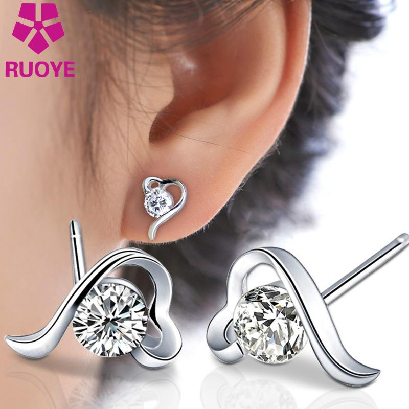 Fashion 2016 Purple White CZ Cubic Zircon Love Heart Stud Earrings Silver Plated Girl Ear Jewelry Earrings For Women Wholesale(China (Mainland))