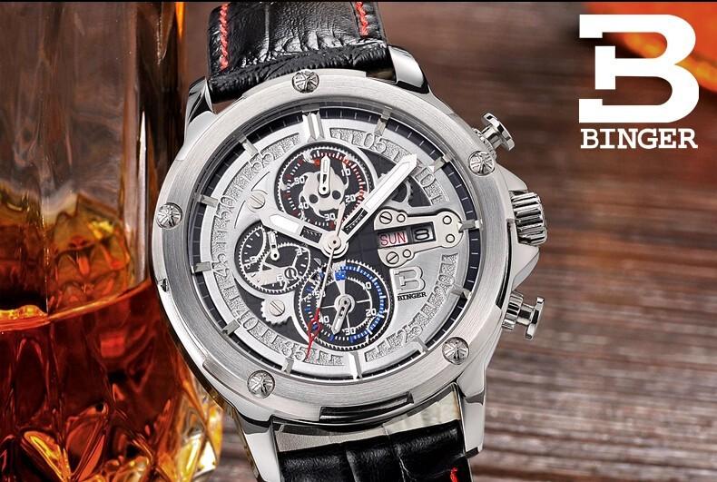 Бренд Бингер Подарки На День Рождения Роскошный Швейцария Мода Повседневная Мужские Часы Кожаные Ремни Спортивные Наручные Часы ПУ Смотреть Оптовая