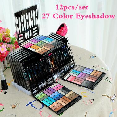 12pcs/set 27 Color Fashion Lady Eyeshdow Palette Cosmetic Eye Shadow Make up Shimmer Matte Eyes Shadows Makeup Tools with Brush(China (Mainland))