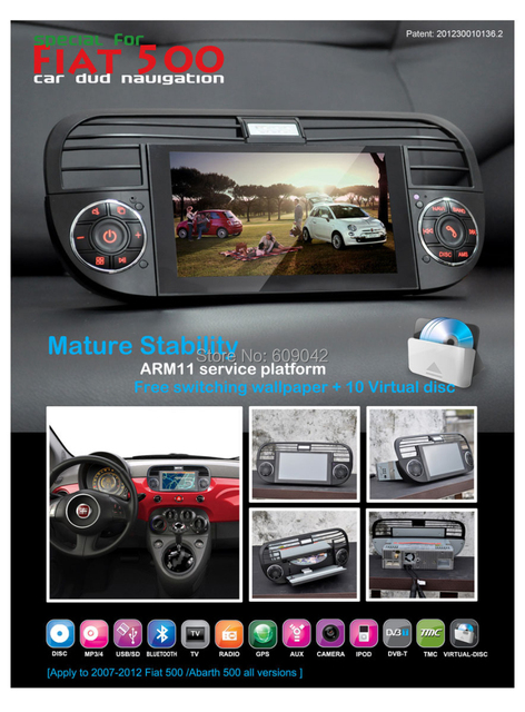 Car GPS Stereo For FIAT 500 with Navigation Car DVD Player Audio Bluetooth SD USB 3D Menu 10 virtual discs Russian Language