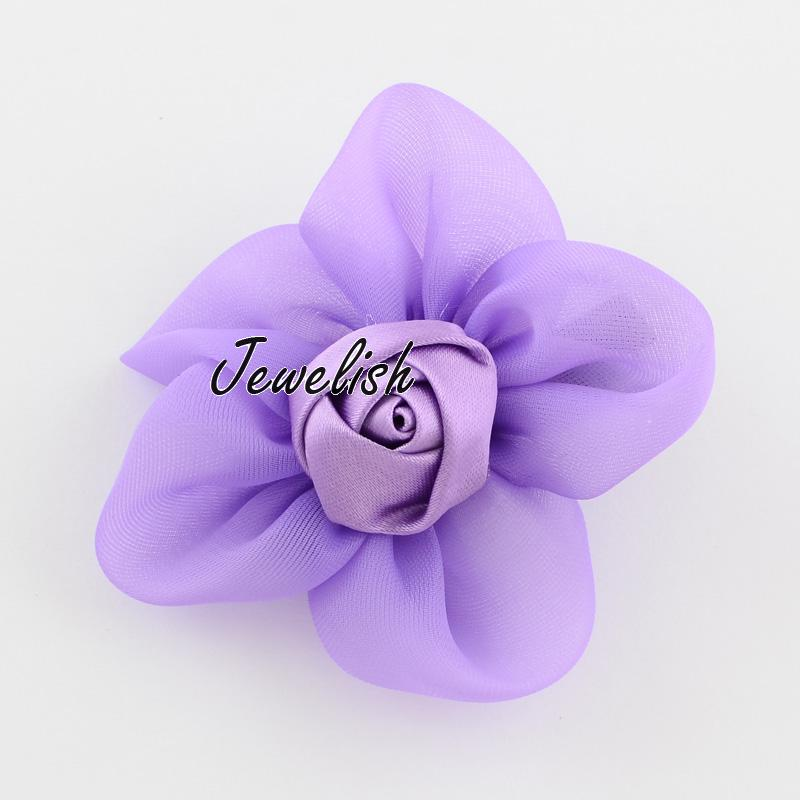 Kawaii Children's Hair Accessories Organza Ribbon Flower Alligator Hair Clips, Iron Alligator Hair Clips, MediumPurple, 65x65mm(China (Mainland))
