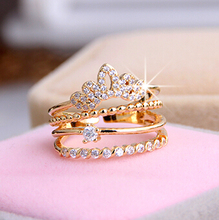 Multi layers shining crown 18K RGP Good quality Fashion gold plated zircon crystal ring wholesale B13D25211
