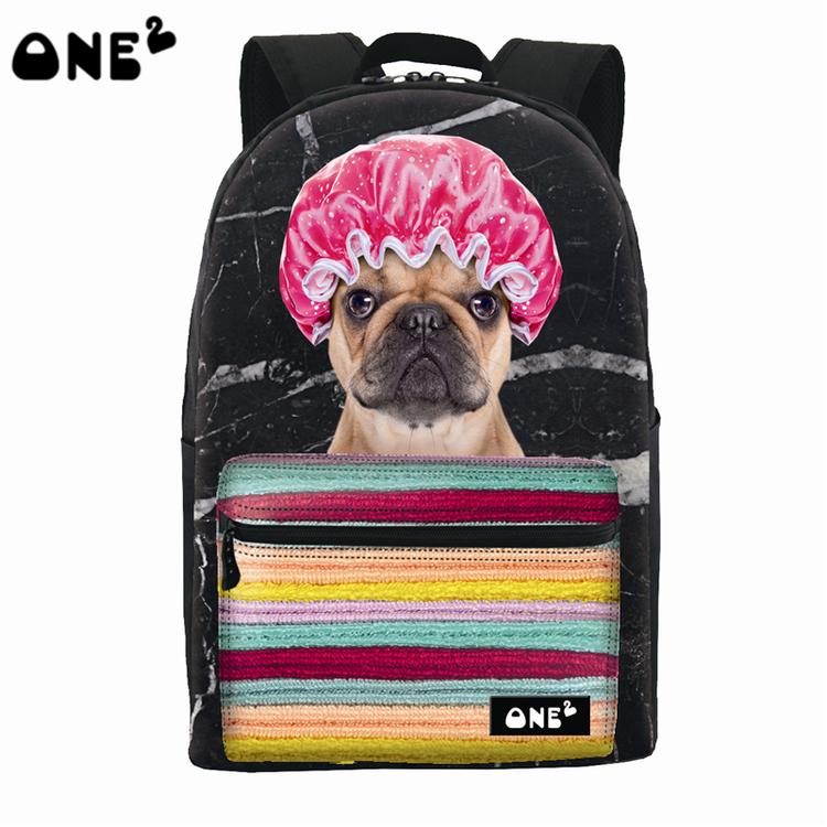 ONE2 Design fashion dog animal children school bag black polyester laptop backpack high school students teenager boys girls(China (Mainland))
