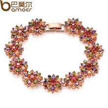 BAMOER CZ Chain Link Bracelet for Women Multi-Color Prong Setting Zircon Best Gift for Anniversary JIB009(China (Mainland))