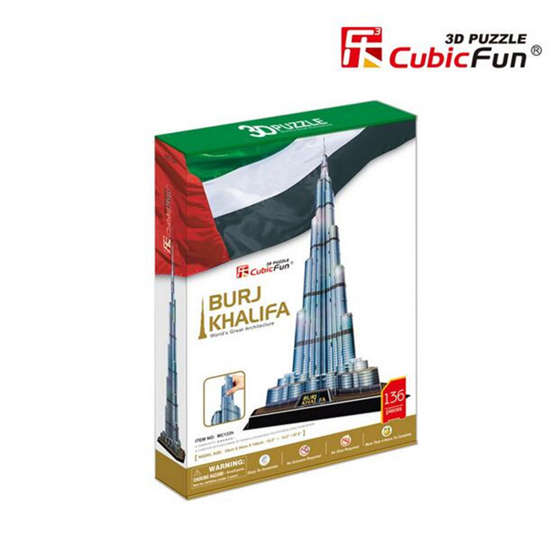 Free Shipping Super Big Size 34X39X146cm CubicFun 3D Puzzle The Tallest Building of The World In UAE Dubai BURJ KHALIFA 136PCS(China (Mainland))
