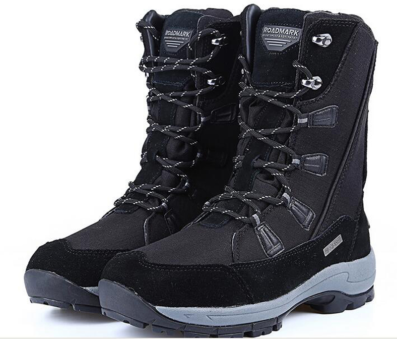 Genuine Leather mid black boots waterproof 2016 winter fashion botas mujer outdoor snow men woman hiking flat shoes chaussure(China (Mainland))