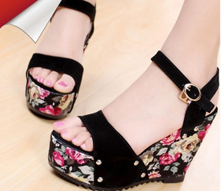 2014 button scrub wedges high-heeled sandals women's shoes platform open toe - MO&CO store