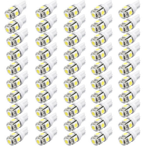 50Pcs Super Bright T10 Wedge 5-SMD 5050 LED Light bulbs W5W 2825 158 192 168 194 White/RED/BLUE(China (Mainland))
