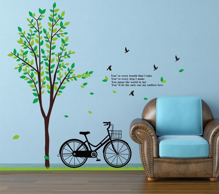 super large tree bicycle sticker mural bike vinyl wallpaper decals teenage adult women men living room house home decoration(China (Mainland))