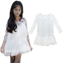 Kids Princess Girl Lace Fancy Dress Long Sleeve Tops Casual Dress