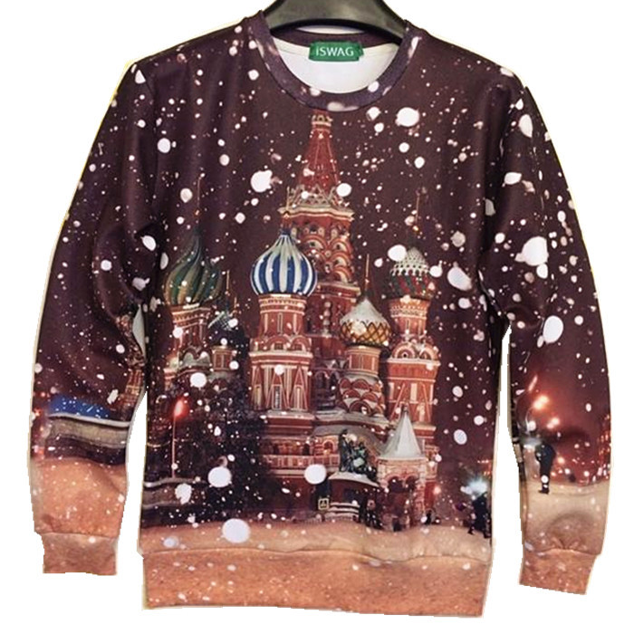 Couture New 2015 women/men Snow for Christmas print pullover moscow city 3D T Shirts Sweatshirts Hoodies galaxy moleton tops(China (Mainland))
