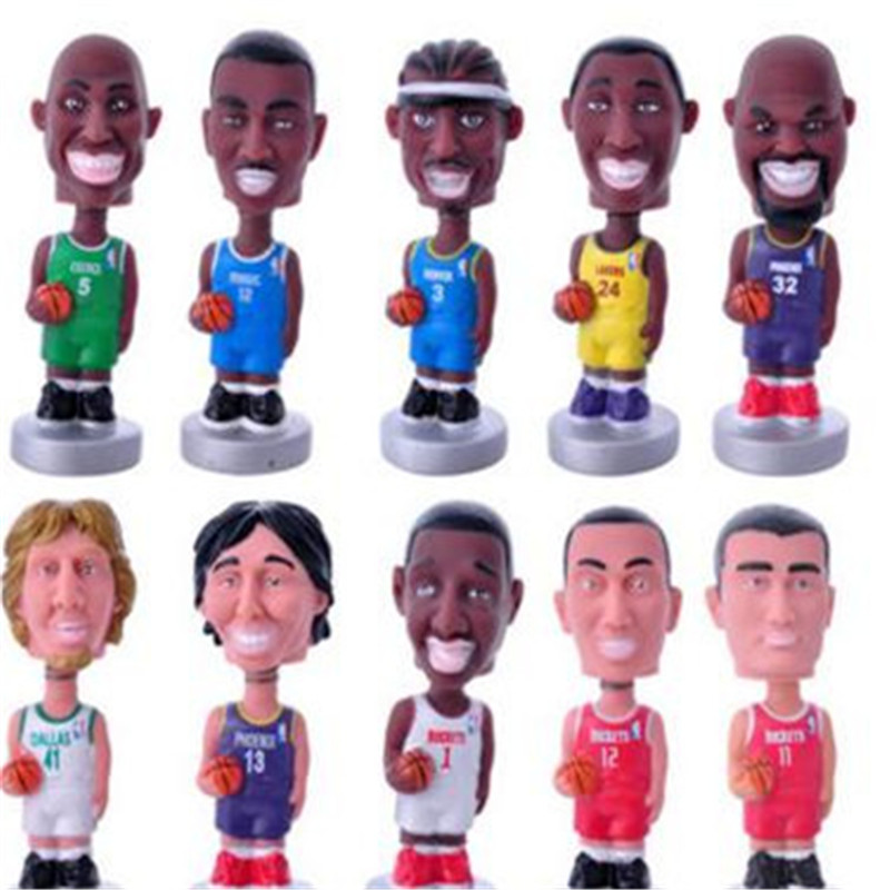 10pcs/lot NBA Star 10 Styles O Neal/McGrady/Yao Ming/Nowitzki/Bryant/Iverson Model Toys Collections Birthday Gifts for Boys 12cm(China (Mainland))