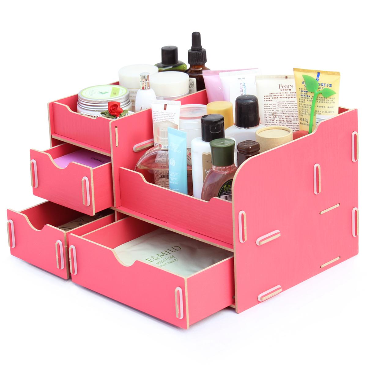 50% Off DIY Makeup Organizer American Style Wooden Box Eco-friendly Cosmetic Organizer Storange Box With Drawer Shelf(China (Mainland))