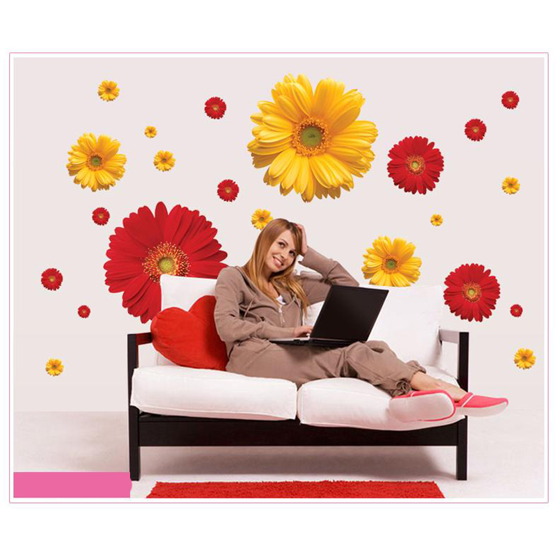 Colorful Kitchen Wall Art: 3D Flowers Viny Wall Stickers Living Room Home Decor DIY