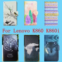 2016 New Hot PU Flip Leather case cover for Lenovo K860 K860i With Card Slot 115 Colors Available Bags(China (Mainland))