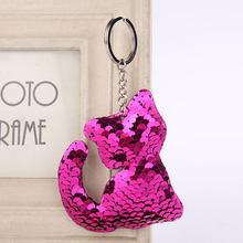 Брелок для ключей в виде русалки, звезды, единорога, кота, блестки, помпон, блестки, подарки для женщин, Llaveros Mujer(China)