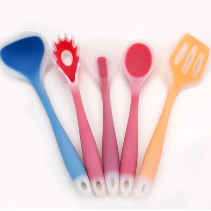 5pcs/set Creative Silicone FDA Heat Prevention Kitchen cooking tools Spoons&fork WK265(China (Mainland))