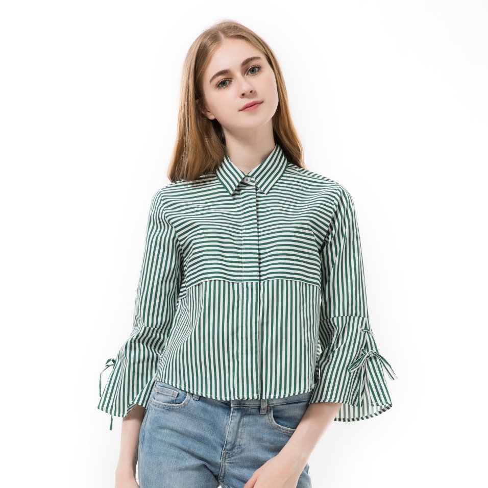 Brand Autumn Women Blouses Striped Short Tops Ladies Elegant Bow Flare Sleeve Shirts Collar Stripe Clothes Chemise Femme 2016(China (Mainland))