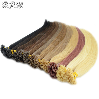 "H.P.W.16""-""26"" 0.4-0.7g/s 100s/bag inch Pre-Bonded Keratin Nail U Tip Hair Extensions 100% real Hair Straight 13color available"