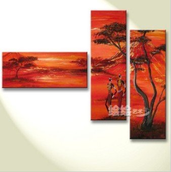 3 panels Oil Painting On Canvas  abstract wall deco  handmade african landscape huge size Free shipping  painting YP129