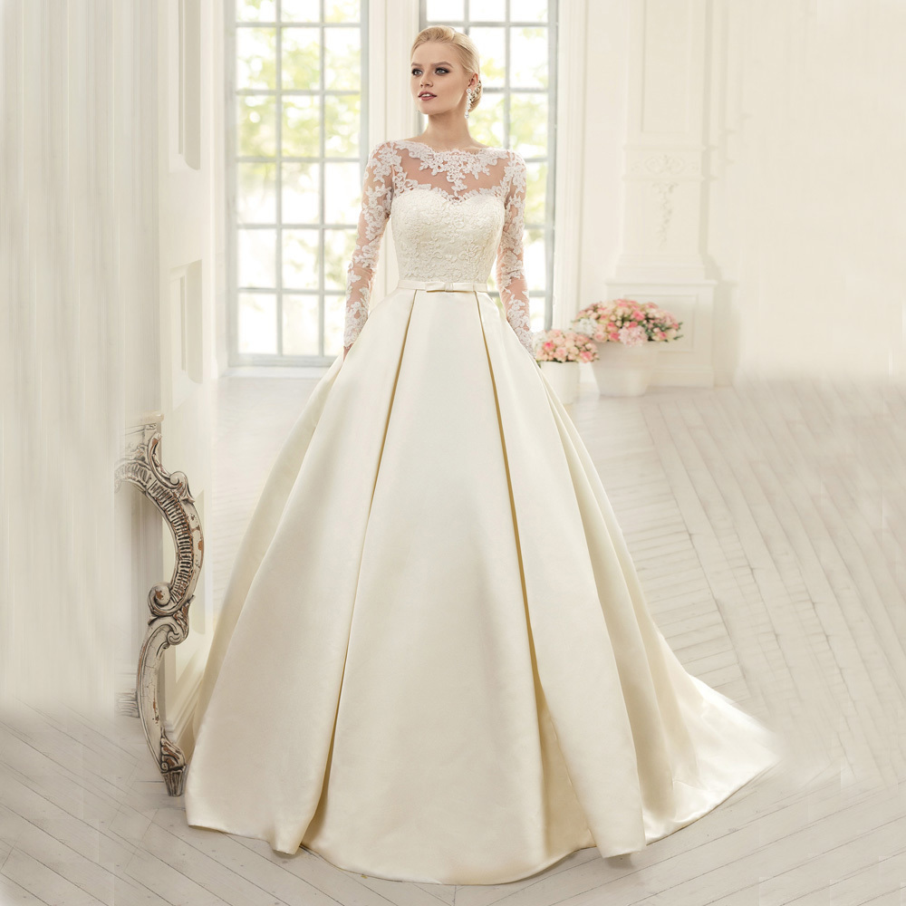Elegant long sleeve ball gown wedding dress 2016 satin for Wedding dress long sleeves