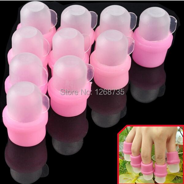 Free Shipping 10pcs Nail Remover Wearable Salon Acrylic Nail Polish Remover Wipes Soak Soakers Cap Tool Pink UV Gel Nail Cleaner(China (Mainland))