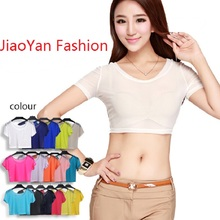 JiaoYan Sexy Transparent Crop Tops Elastic Gauze Short T-shirt Summer Cool Shirt Breathable Female Outwear Joker Type JY597 (China (Mainland))