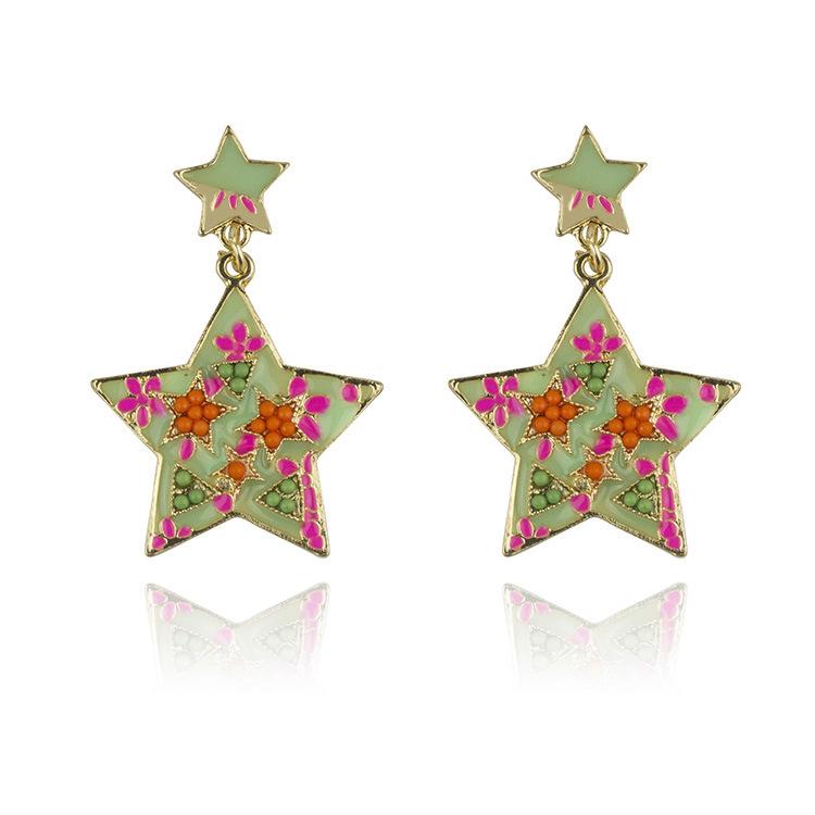 E316-1 earrings wholesale Korea fashion color geometric earrings earrings new star oil(China (Mainland))