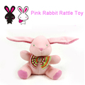 Baby Toys Soft Pink Rabbit Bunny Plush Doll Baby Rattle Ring Bell Crib Bed Hanging Animal