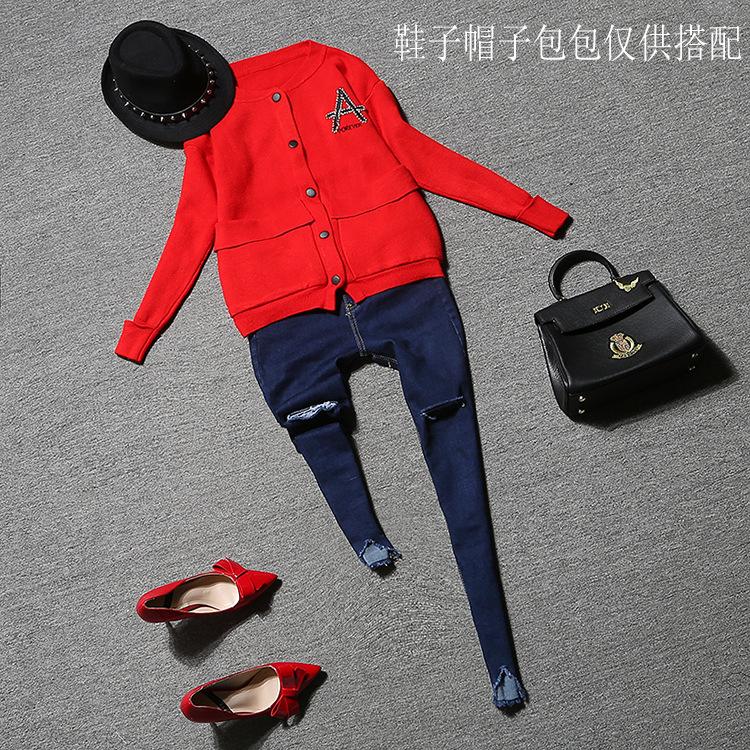 Скидки на 2016 Осень новые моды для женщин 2 шт. джинсы костюмы Футболки пальто карман тонкий отверстие джинсы туника брючный костюм для женщин DWU4749