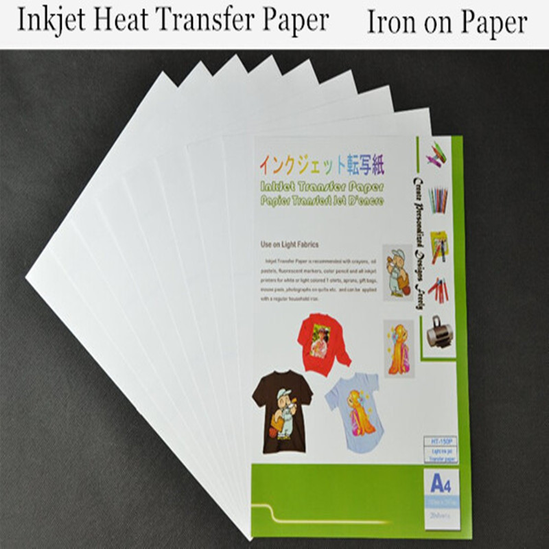 20pcs*A4 Iron Paper t shirt Transfer Paper Light Color Inkjet Heat Transfer Printing Paper With Heat Press For Fabric Cotton(China (Mainland))