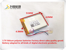 Buy best battery brand 494251 3.7V 1500mAh lithium polymer battery MP3 MP4 navigation instruments small toys products Univ for $4.33 in AliExpress store