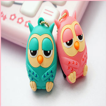 Hot Selling Cheapest 3.5mm owl dust plug free shipping 2pc/ lot blue pink color silicon phone earphone jack cap(China (Mainland))