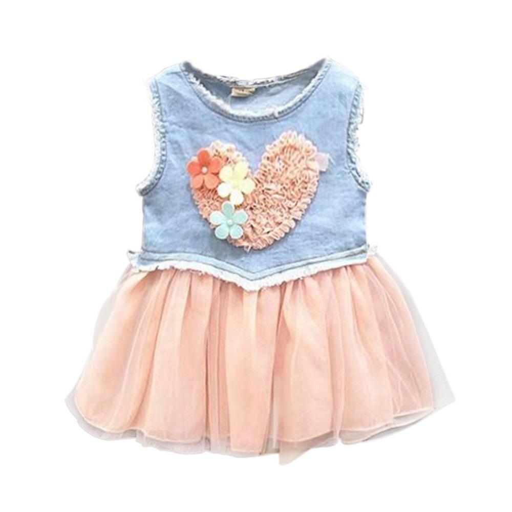 LOWEST PRICE Baby Kids Girl Dress Lace Flower Heart Tutu Dresses Ruffle Demin Dress 0-3Y(China (Mainland))