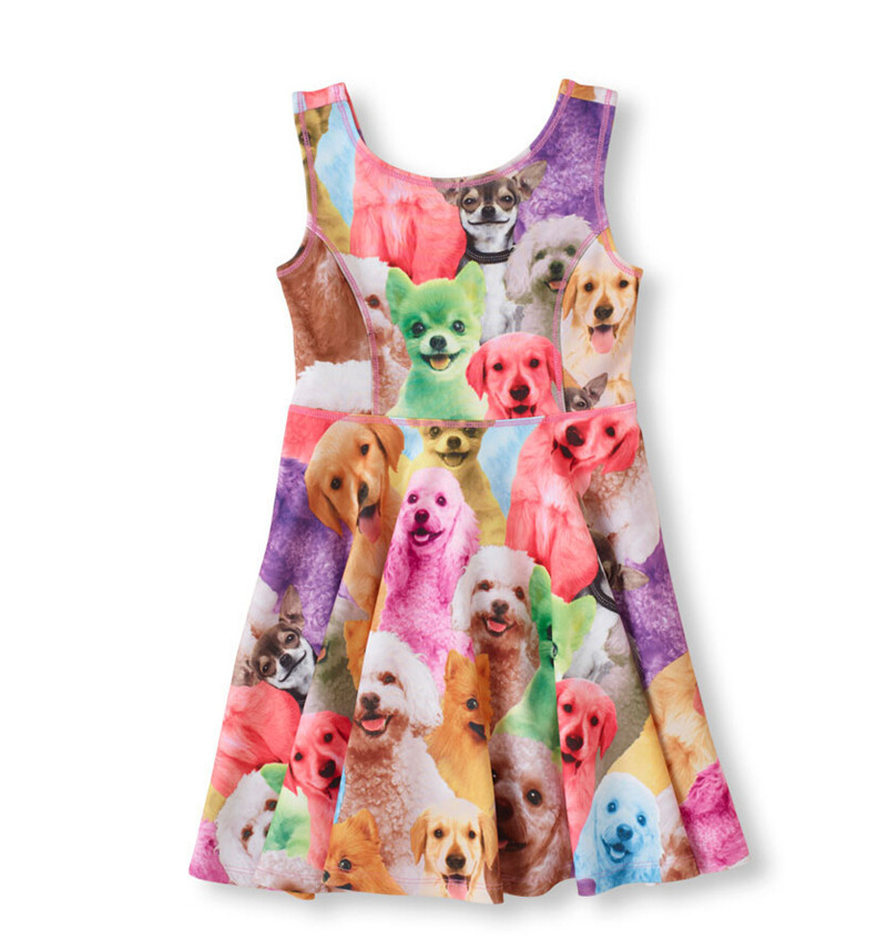 party dresses summer dress baby girl kids clothes cats dogs pattern