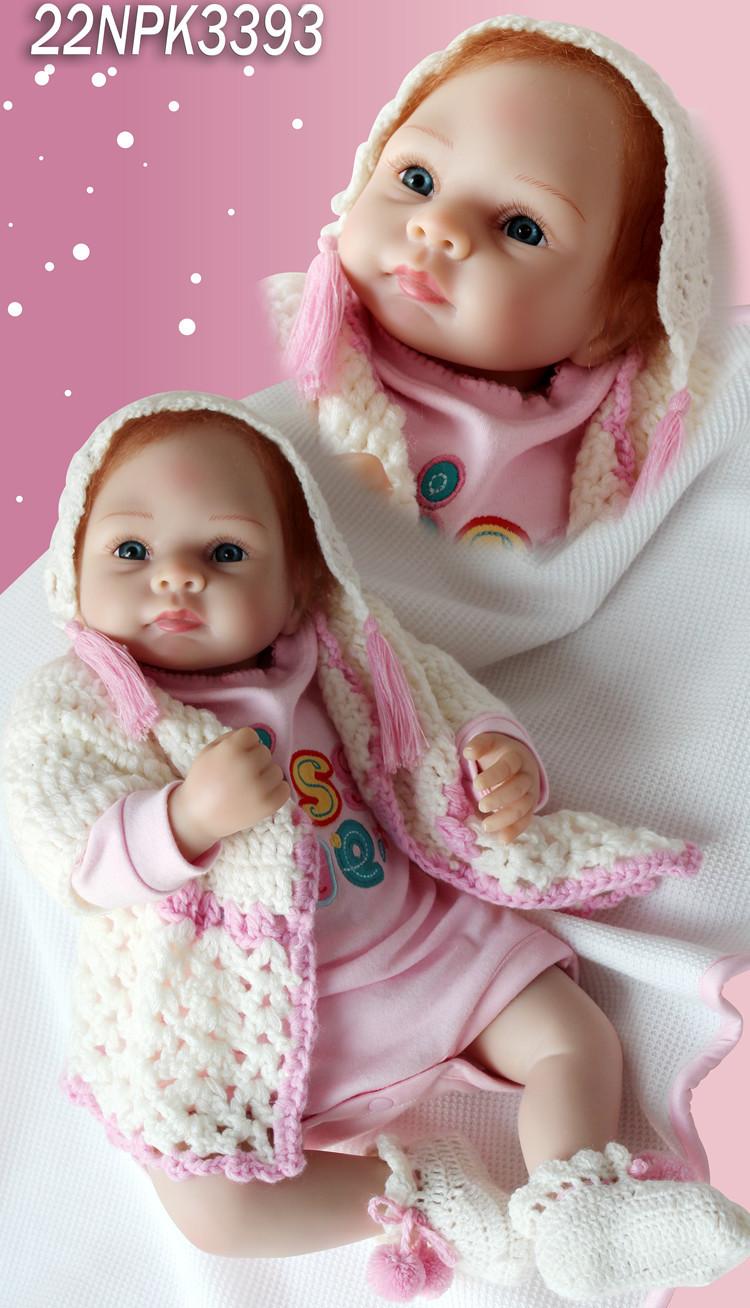 TOP QUALITY 55m high Ultra - simulation  silicone reborn baby dolls/ reborn baby girl doll lifelike bonecas gift for girls