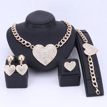 Hochzeit Schmuck Aussage Kristall Strass Halskette Ohrringe Schmuck-Set Herzform Braut Schmuck Gold/silber Farbe(China)