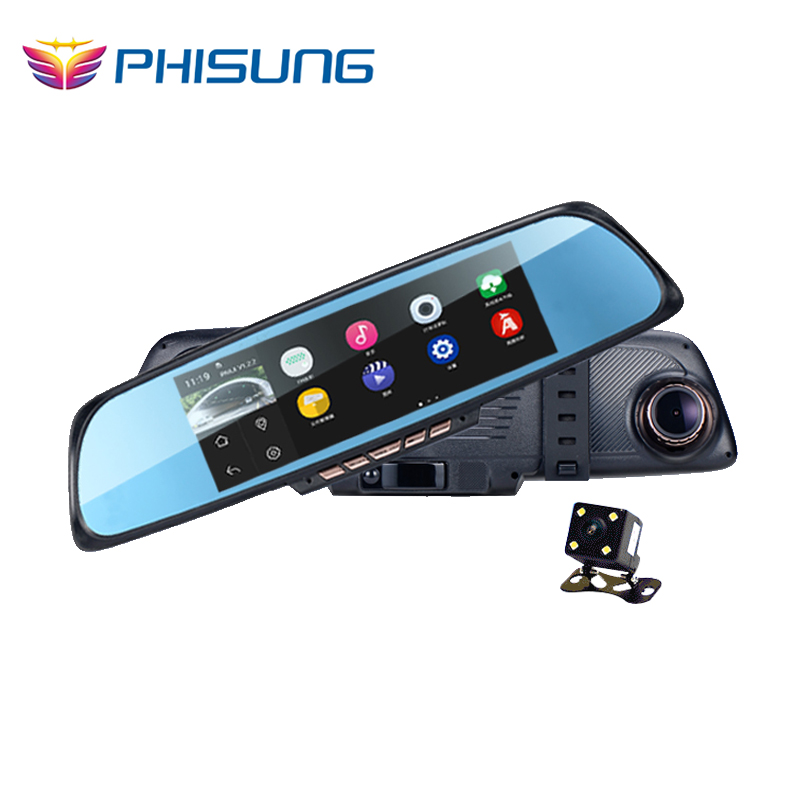 "6.86""Touch RAM 1GB ROM 16GB 2 Split View Android GPS Navigation Mirror Car DVR dual lens camera rear parking WiFi FM Transmit(China (Mainland))"