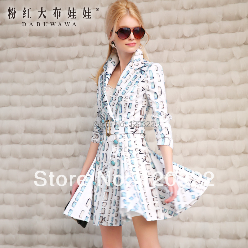 original new fashion brand 2014 spring outerwear white blue bow print slim brief vintage long womens trench  coat clothesОдежда и ак�е��уары<br><br><br>Aliexpress