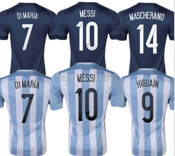 Thai Quality 15 16 Argentina Soccer Jersey 2015 2016 HIGUAIN MASCHERANO MESSI DI MARIA KUN AGUERO national team football shirts(China (Mainland))