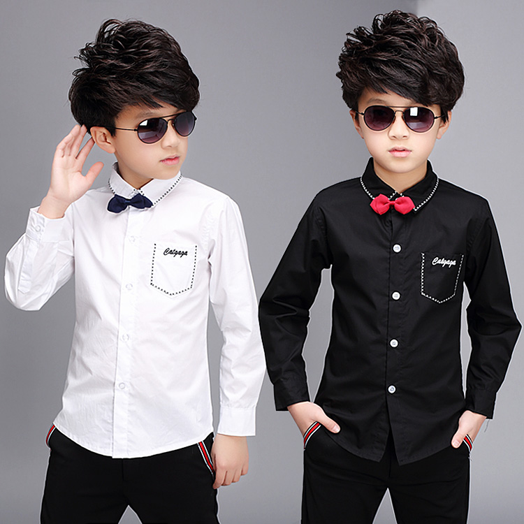 The older boys 4--12 years old children's clothing boy black and white shirt sleeved shirt cotton shirt boy 100% children(China (Mainland))