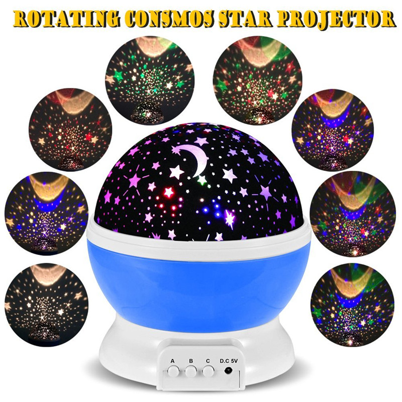 2016 New Romantic New Rotating Star Moon Sky Rotation Night Projector Light Lamp Projection with high quality Kids Bed Lamp(China (Mainland))