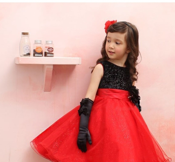 2015 Chirstmas Kids Girl Dress Red Black Baby Girl Princess Clothing Infant Dress With Bow Girl Formal Party Dress(China (Mainland))