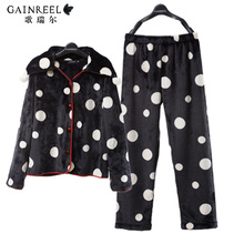 Song Riel autumn and winter fashion sweet wave point cozy flannel pajamas casual tracksuit suit Ms